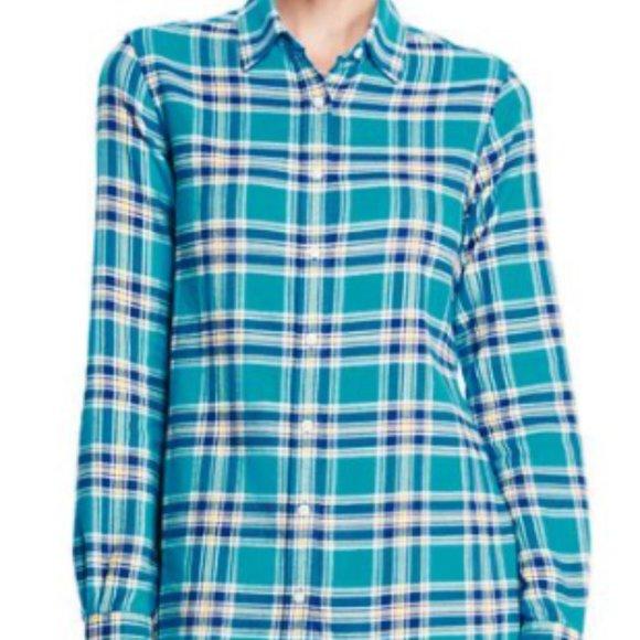 3x Lands End Flannel Button Down shirt